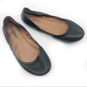 **Lucky Brand Emmie Black Leather Ballet Flats